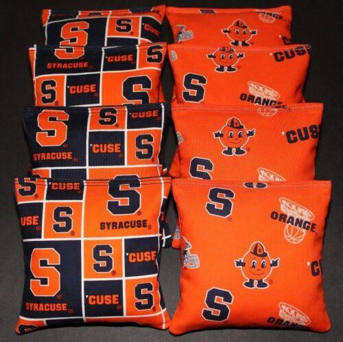 8 CORNHOLE BEANBAGS made w SYRACUSE University Fabric ACA Reg Bags Top Quality