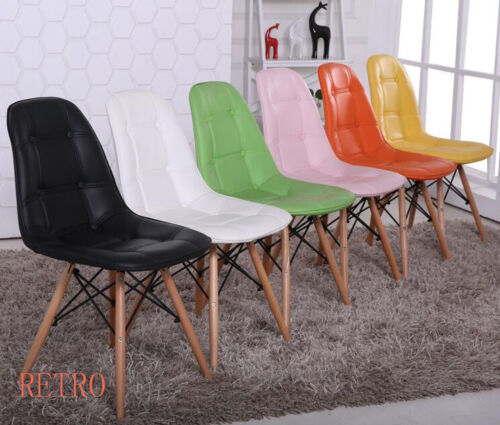 4 x Retro Eiffel  style Dining//Kitchen//Office  leather Chair  Designer  .0