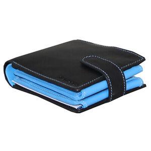 Rallegra-large-Men-039-s-Wallet-Noir-amp-Bleu-Clair-RFID-Blocage-Soft-Nappa-le