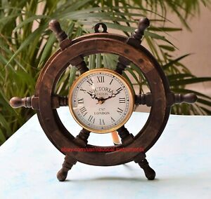 Wooden-Ship-Steering-Wheel-Clock-18-Inch-Nautical-Wall-Decor