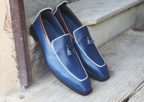 Handmade Hommes à Enfiler Cuir Formel Chaussure affrontement Mocassin Bleu À Enfiler Chaussures Pour Hommes