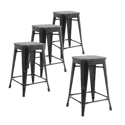 Pleasant Set Of 4 Metal Bar Stools 24 Indoor Outdoor And Stackable Black Wood Seat Ebay Cjindustries Chair Design For Home Cjindustriesco