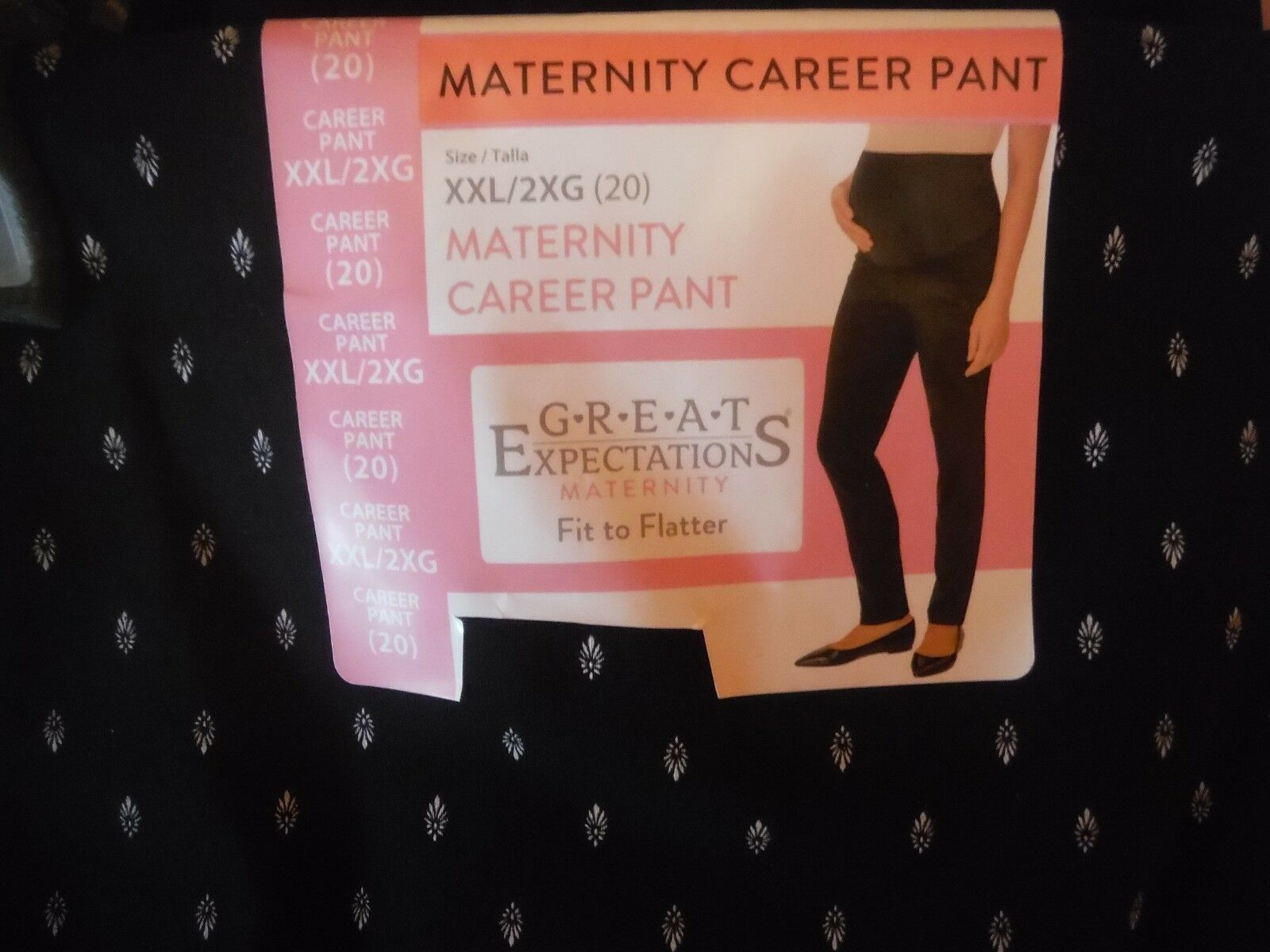 Black//white print Fit To Flatter 2XL Size 20 Maternity Printed Career Pant