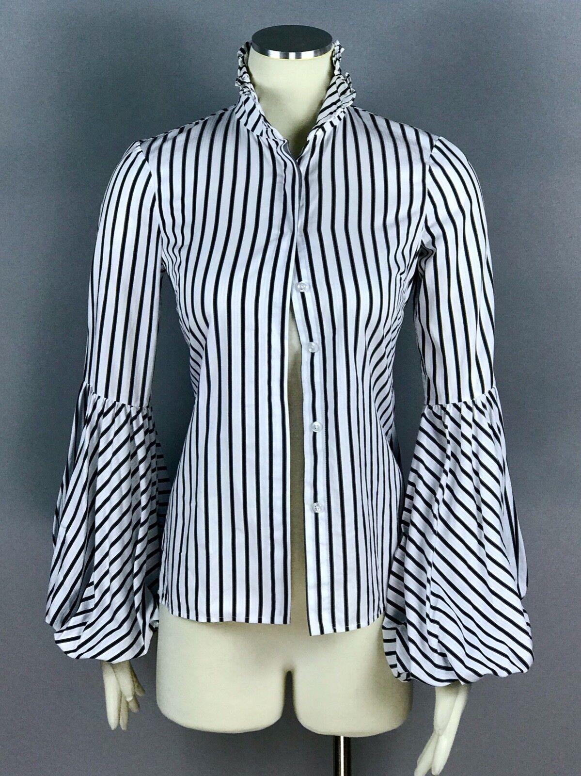 CAROLINE CONSTAS Weiß schwarz Striped 100% Cotton Button Front Shirt Top Größe XS