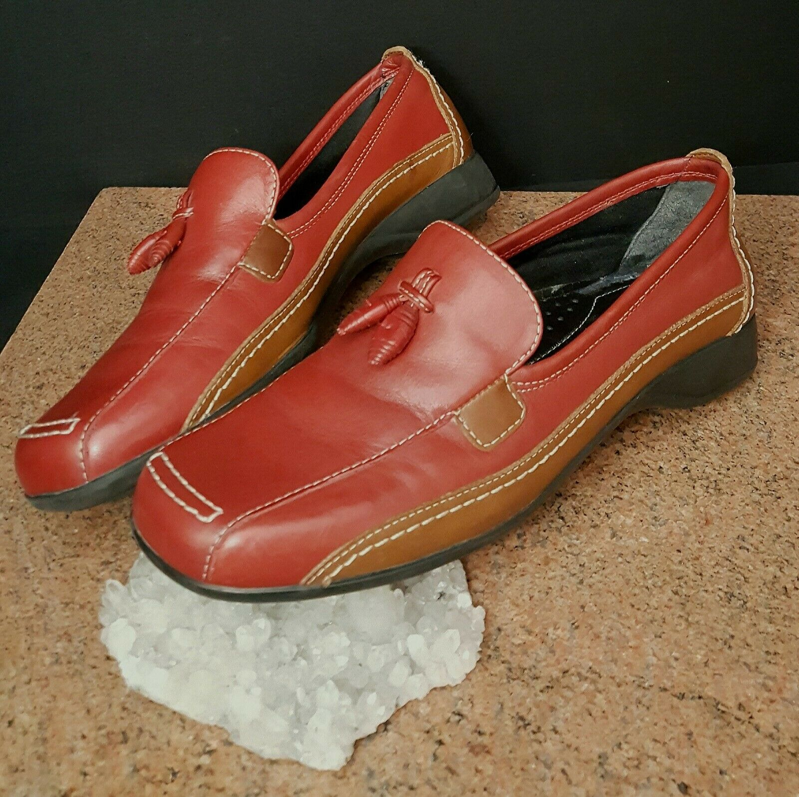 Naturalizer Women Red Brown Moccasin Loafer Slip On shoes 4.5M Pre Owned CUTE