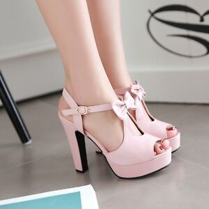Womens-Platform-High-Heel-Sandals-Bow-T-Strap-Peep-Toe-Ladies-Large-Size-Shoes