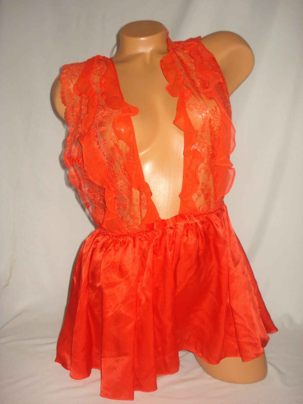 Victoria Secret Lingerie Teddy Large Babydoll Designer Collection Red Silk