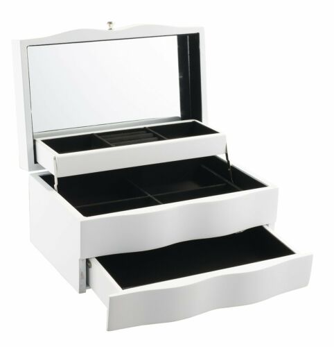 White Geff House Wave Collection Jewelry Gift Storage Chest