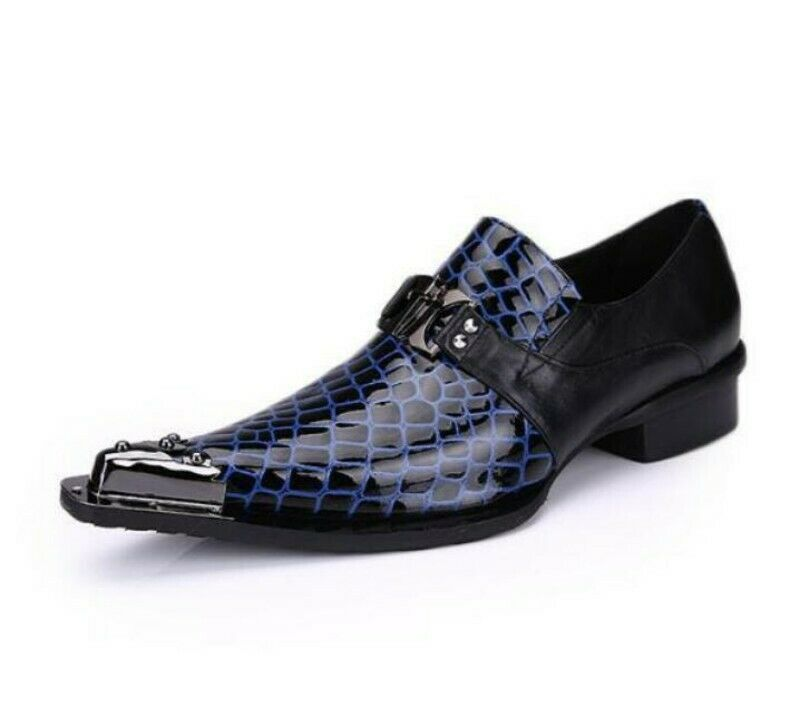 European Men Slip On Loafers Wedding Oxfords Business Pointy Toe Metal New shoes