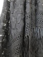 Art Deco Flappers Black Silk Textured Lace Frame Knitted Shawl- Circa 1920's