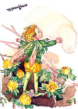 Art print of WATERCOLOR PAINTING- Winter aconite Fairy 2nd ver., FLOWER FAIRY