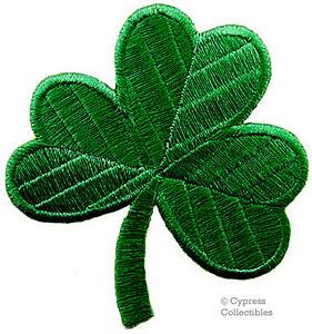 LUCKY GREEN CLOVER PATCH - IRISH SHAMROCK Embroidered Iron-On GOOD LUCK SOUVENIR
