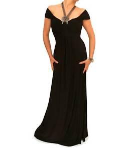 Neu Schwarz Neckholder Halskette Maxi Kleid Abendkleid Defekt Ebay