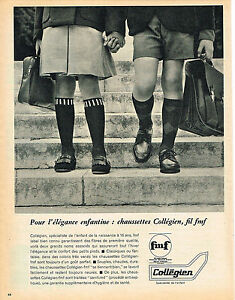 PUBLICITE-ADVERTISING-1965-COLLEGIEN-chaussettes-enfantines