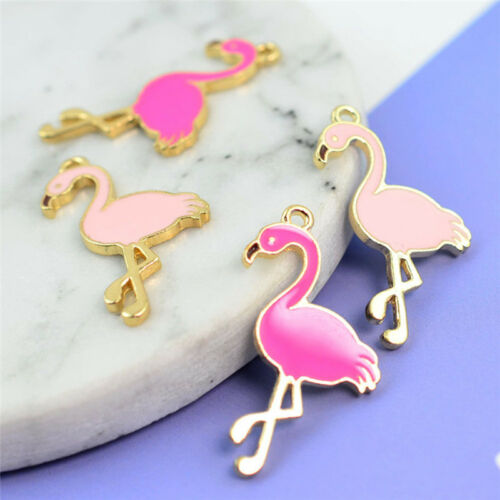 10 Pcs Enamel Flamingo Pendant Charms For DIY Necklace Bracelet Jewelry Marke IC