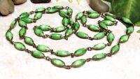 "Vintage 1920's Art Deco Long Green Givre Art Glass Bead 40"" Necklace"