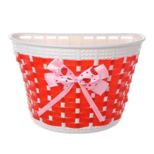 NEW Bicycle Basket White With BOWKNOT Blue//Pink//Red// BlackGirls Kids Bike Basket