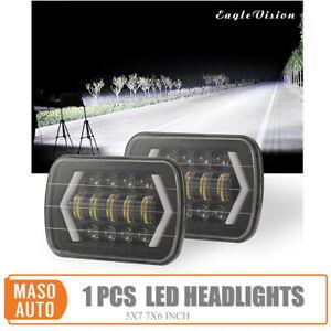 Proiettore-Faro-Jeep-LED-Luce-DRL-Lampada-Fascio-Halo-Hi-Lo-300W-7x6-039-039-5X7-034