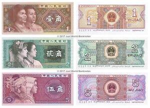 Cina-1-2-5-Jiao-1980-Set-di-3-BANCONOTE-3-PZ-UNC