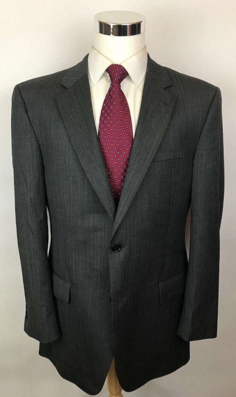 Jos A Bank Signature grau Herringbone Modern Fit 2 Button Wool Suit 42L 36x30