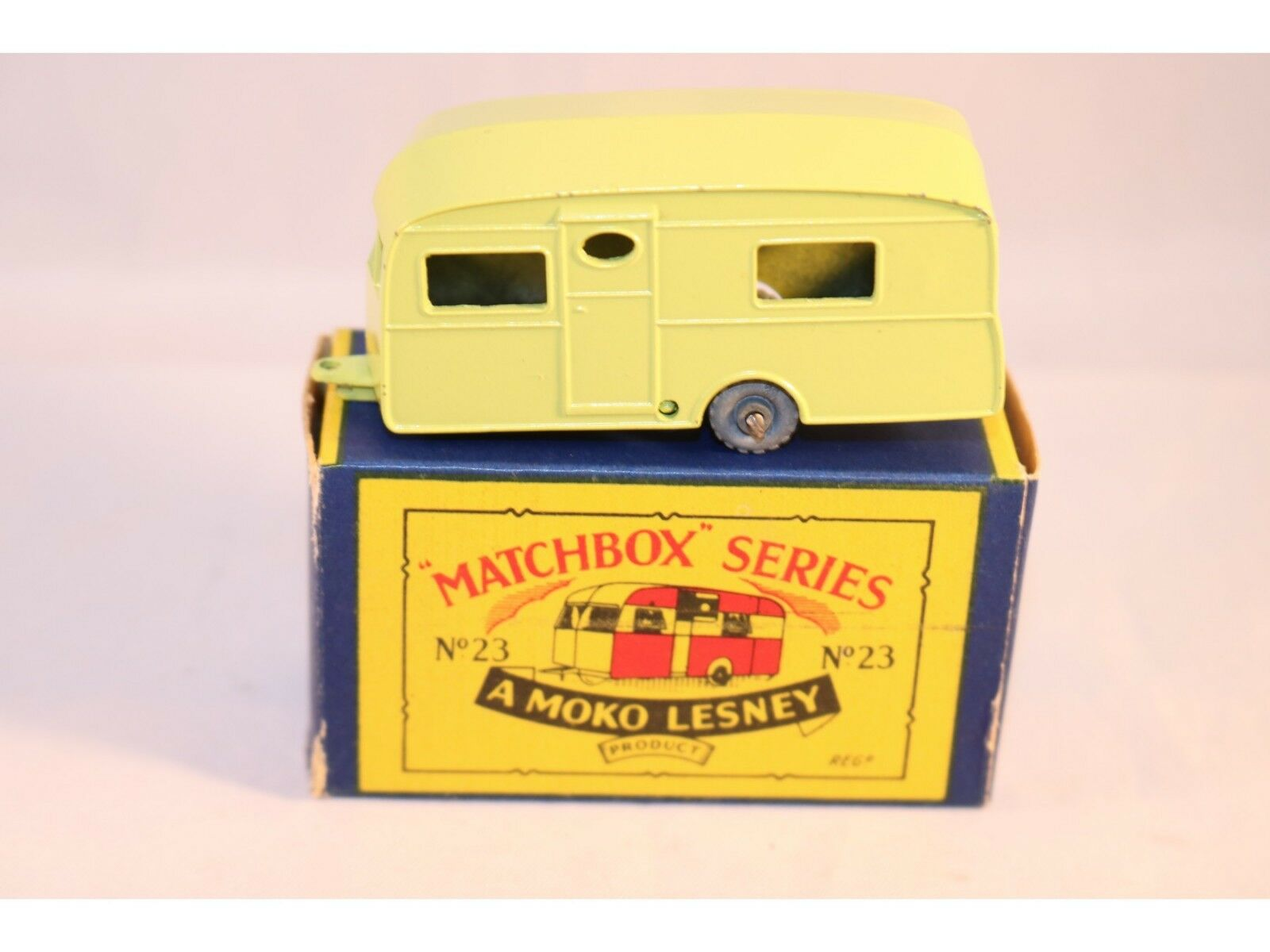 Matchbox A Moko Lesney No 23 Caravan lime green with GMW 99% mint in box