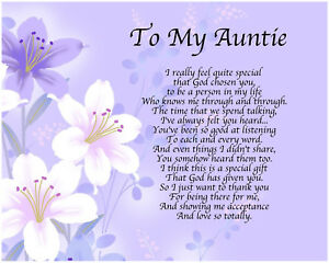 personalised to my auntie poem mothers day birthday christmas gift