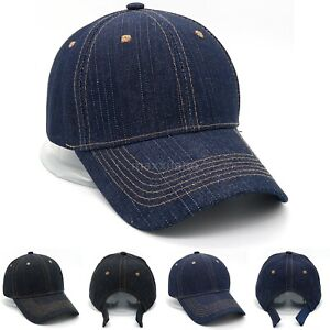 Cotton-Baseball-Caps-Adjustable-Polo-Style-Hat-Denim-Hats-Plain-Curved-Visor-Cap