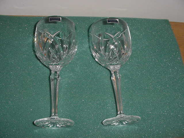 Pair (2) Waterford Marquis Brookside All Purpose 8 1/2 inch Goblets,Orig. Box