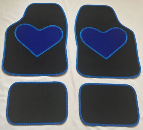 BLACK CAR MATS BLUE HEART HEEL PAD FOR KIA CEED PRO-CEED PICANTO RIO SOUL