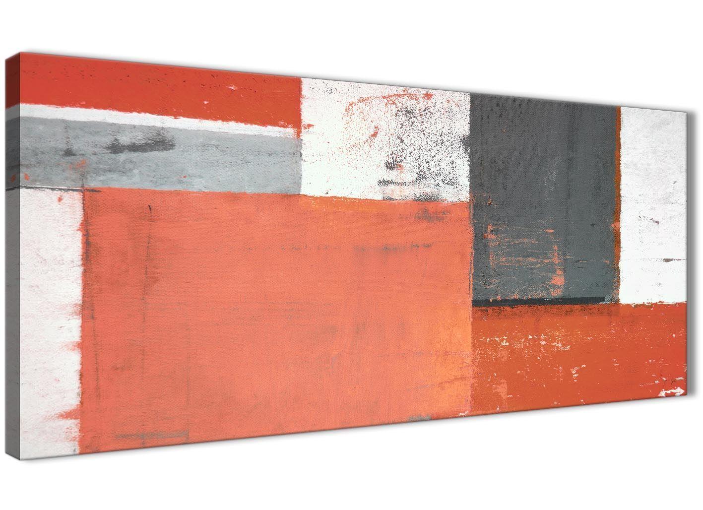 Coral Grigio Pittura Astratta Tela Wall Art Foto-moderno larghezza 120 cm - 1336