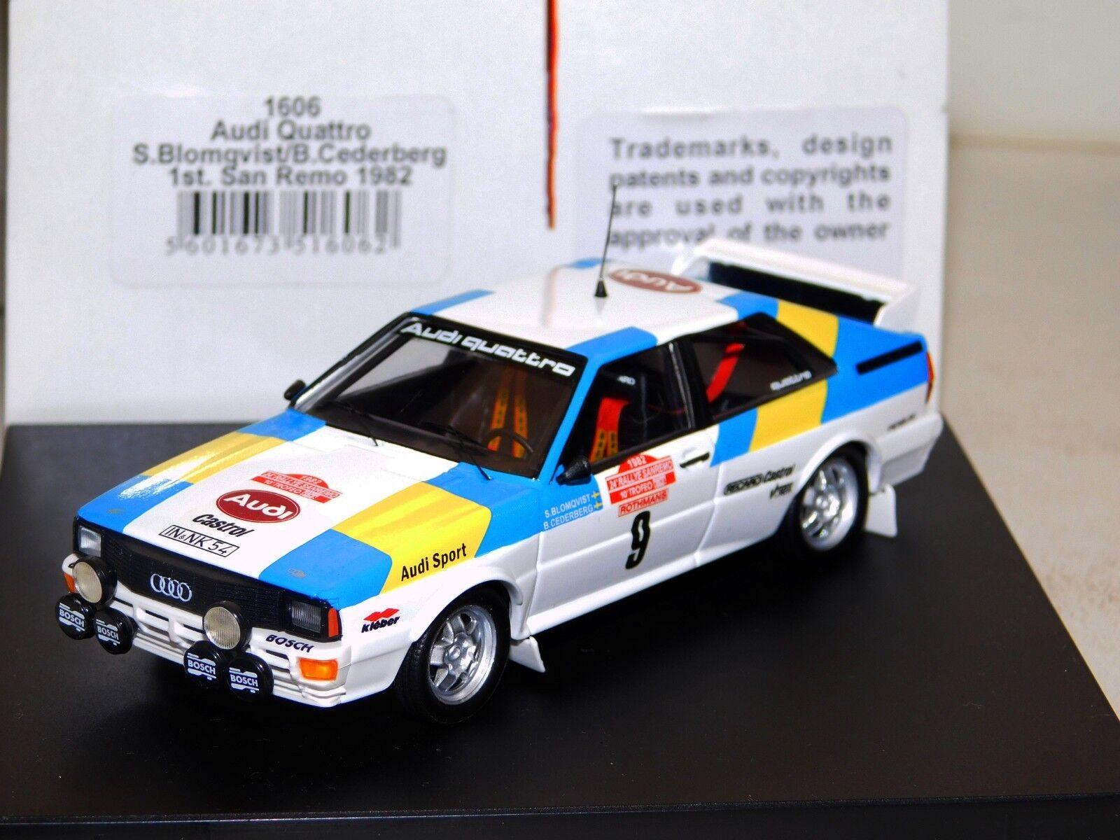 Descuento del 70% barato AUDI Quattro  9 Ganador San Remo Remo Remo 1982 Blomqvist Trofeu 1606 1 43  100% a estrenar con calidad original.