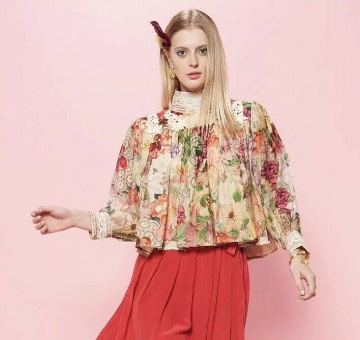 31. Carolina K For Free People Victoria Top In Rosa Garden  Birds