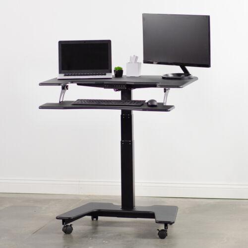 "USED VIVO Black Electric Mobile Height Adjustable Two Platform Standing Desk 36/"""