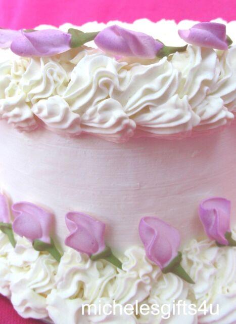 "64-1 1//4/""  Pink Rosebuds Sugar Icing Flowers Cupcake Cake Toppers"