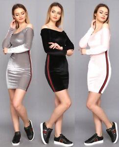 Womens Off Shoulder Mini Dress Velour Stretch Jumper Dress Stripes Bodycon 8-14