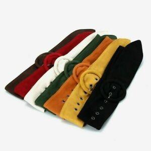 women faux suede belt retro vintage corset waistband coat