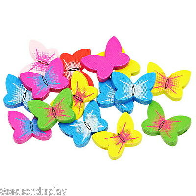 70PCs Wooden Loose Beads Charm Butterfly Pattern Mixed 20mm x15mm NEW
