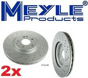 Set of 2 Meyle Brand GEOMET®Anti Rust Coated Front Brake Rotors for Porsche