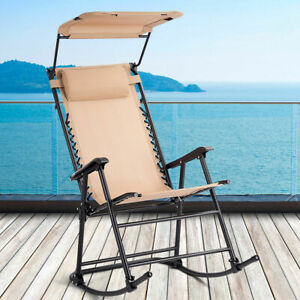 Folding Rocking Chair Rocker Porch Zero Gravity Patio Furniture W/Canopy Beige