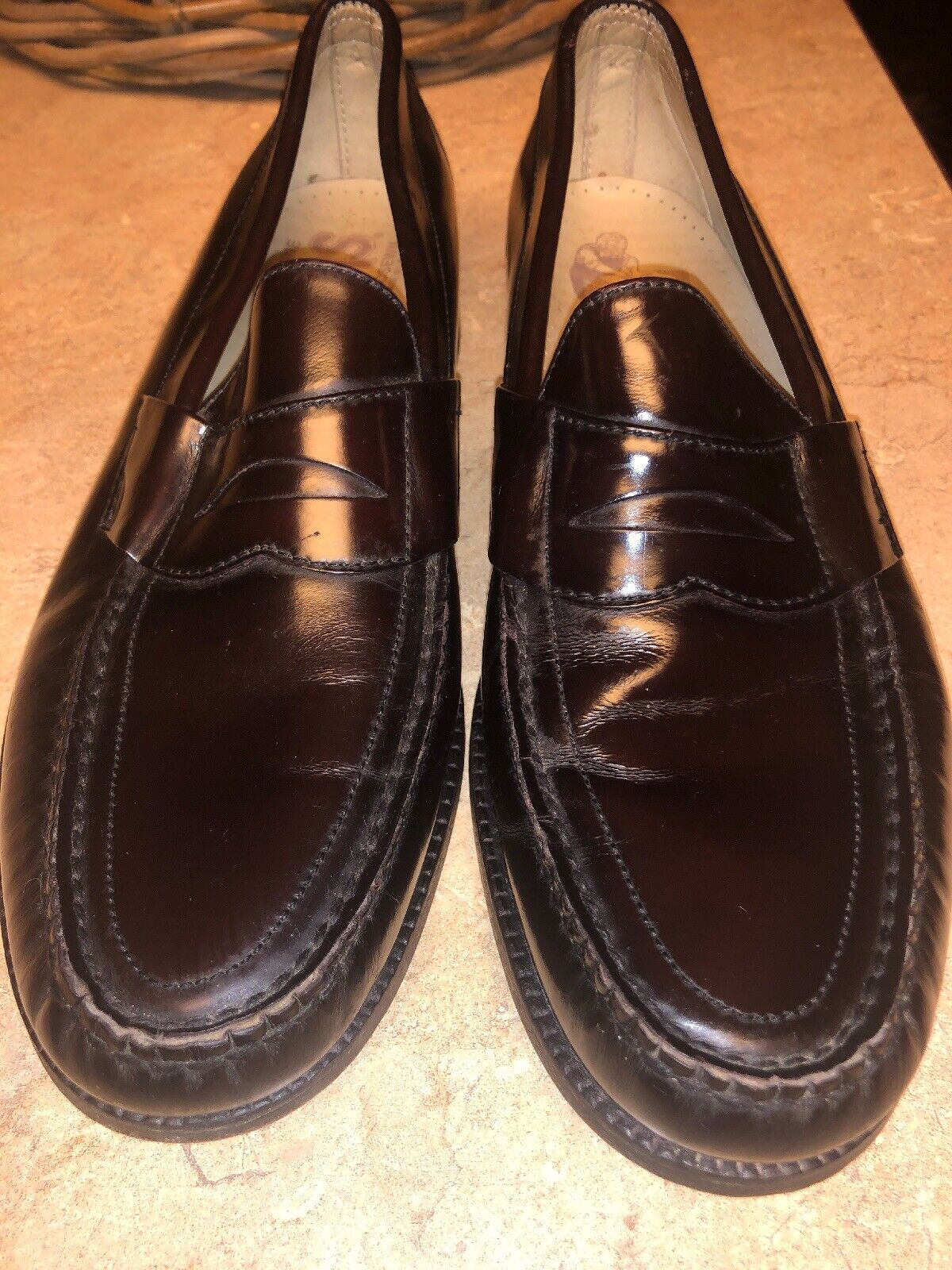 SAS San Antonio shoesmakers Mens Cordovan Leather Penny Loafers 10N