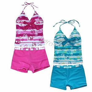 Girls-Kids-2-Piece-Halter-Swimsuit-Swimwear-Bathers-Tankini-Swimmers-Size-8-16