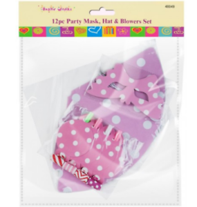 12pc Party Mask PINK Hat /& Blowers Set
