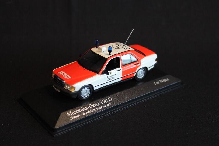 Minichamps Mercedes-Benz 190 D 1 43 Notarzt-Berufsfeuerwehr Aachen (JS)