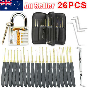 28pcs Unlocking Lock Pick Set Key Extractor Transparent Practice Padlock Tool