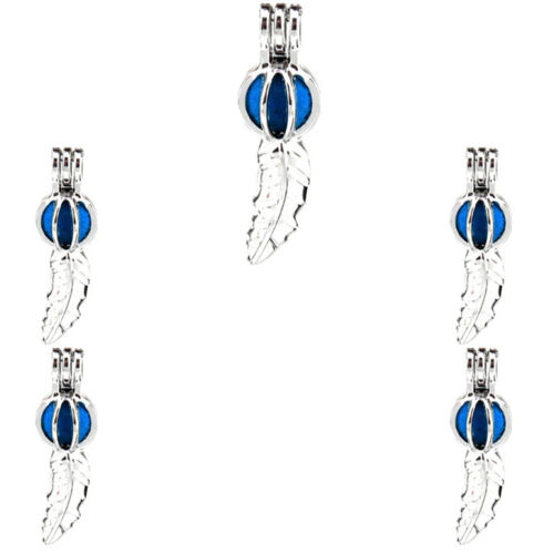 """K542 Silver Alloy 37mm Dangle Leaf Drop Beads Cage Stainless  18/"""""""