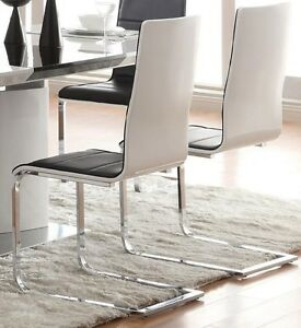 La foto se está cargando Broderick-Dining-Chairs-Black-Seat-and-Chome-Legs-