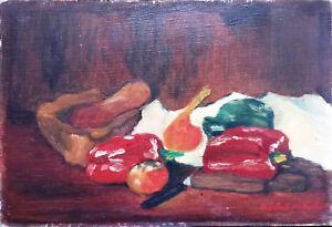 Peinture-Huile-sur-toile-original-Nature-Morte-poivrons-rouge-Michel-Merle