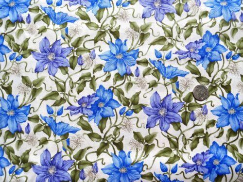 Medio Clematis Escalada Color Azul-Púrpura Tela 1 Mtr x 112 cm F903-4 100/% algodón