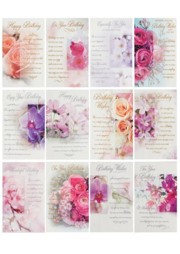 Free p+p 12 Assorted Beautiful Blossoms Female Open Birthday Cards