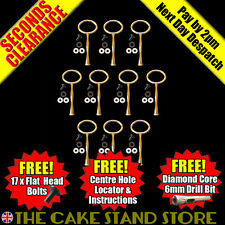 10 x Second Quality Gold Oval 1/One Tier Plate Cake Stand Handle Sets & Fittings